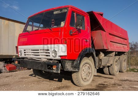 Old Russian Red Truck Close