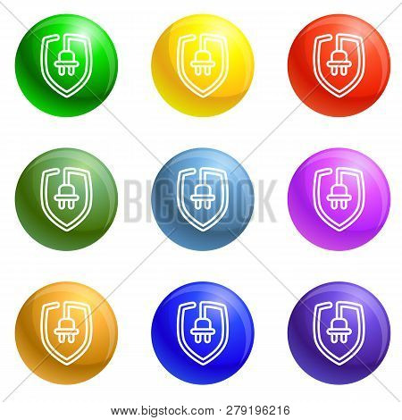 Eco Plug Shield Icons Vector