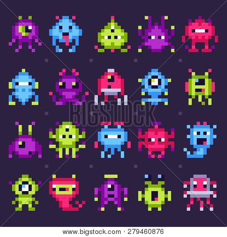 poster of Pixel Space Monsters. Arcade Video Games Robots, Retro Game Invaders Pixel Art Isolated Vector Set