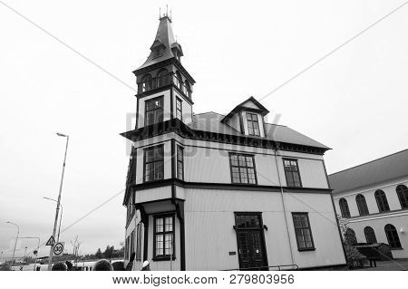 poster of Beautiful Old Architecture Concept. Building Scandinavian Style With Tower Or Steeple. Scandinavian