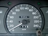 stock photo of speedo  - close up of dashbord - JPG