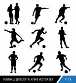 Vector Black Silhouettes Of Football Players On White Background.graphic Simplified Style. Different poster