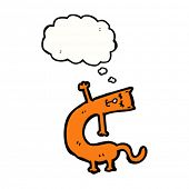 cartoon bendy orange cat with thought bubble