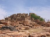 foto of dogon  - This village of the Dogon people is made of mud and dung - JPG