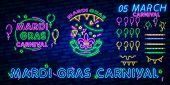 Carnival Party Is Set Of Posters In Neon Style. Neon Signs, Design Template, Brochure, Glowing Poste poster