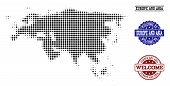 Welcome Combination Of Halftone Map Of Europe And Asia And Rubber Seals. Halftone Map Of Europe And  poster