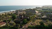 4k Aerial Flying Drone Panorama Of Tropical Beach With Black Sand. Landscape Panorama. Bali Island poster