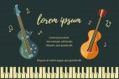 Vector Illustration With Bass Guitar And Acoustic Guitar. Template For Invitation, Guitar Lessons, S poster