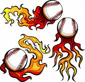 picture of fastpitch  - Graphic baseballs sport vector image with flames - JPG
