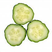 Cucumber. Fresh Juicy Slice Cucumber Isolated On White. poster