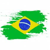 Brazil Flag. Brush Painted Brazil Flag. Hand Drawn Style Illustration With A Grunge Effect And Water poster
