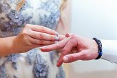Bride And Groom Marriage Hands With Wedding Rings. Bride Hand Putting Wedding Ring On Groom Finger.  poster