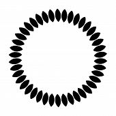 Black Vintage Abstract Trees Circle Pattern Frame On White Background, Border Circle Pattern Frame,  poster