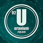 Uranium Chemical Element. Sign With Atomic Number And Atomic Weight. Chemical Element Of Periodic Ta poster