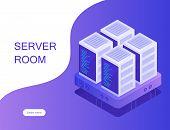 Concept Of Server Room. Hosting With Cloud Data Storage And Server Room. Server Rack. Modern Vector  poster