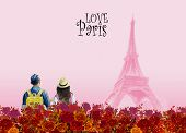 Paintings World Landmark Paris European City Landscape. France Eiffel Tower Famous With Red Roses Ro poster
