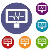 Electrocardiogram Monitor Icons Set In Flat Circle Reb, Blue And Green Color For Web poster