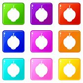 Quince Fruit Icons Of 9 Color Set Isolated Illustration poster