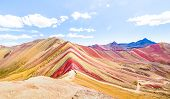 Panoramic View Of Rainbow Mountain At Vinicunca Mount In Peru - Travel And Wanderlust Concept Explor poster