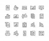 Simple Set Of Graph Related Vector Line Icons. Contains Such Icons As Report, Abstract Chart Present poster