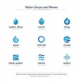 Clean Water Drops And Waves Creative Symbols Set, Font Concept. Fresh Swirl Blue Color Abstract Busi poster