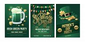 St.patrick`s Day. Set Of Festive Posters With Symbols Of Irish Holiday On Green Background. Beer Mug poster