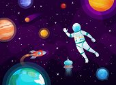 Cosmonaut In Space. Astronaut Spacecraft Rocket In Open Space, Universe Planets And Planetary Cartoo poster