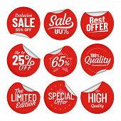 Sale Sticker. Shopping Tag Label, Red On Sale Stickers With Bent Edge And Price Off Labels Isolated  poster