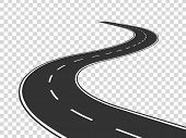 Winding Road. Journey Traffic Curved Highway. Road To Horizon In Perspective. Winding Asphalt Empty  poster