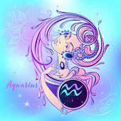 Zodiac Sign Aquarius A Beautiful Girl. Horoscope. Astrology. Vector. poster