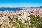 Notre Dame De La Garde Or Our Lady Of The Guard Aerial View, It Is A Catholic Church In Marseille Ci poster