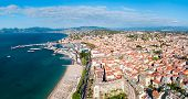 Cannes Beach Aerial Panoramic View. Cannes Is A City Located On The French Riviera Or Cote Dazur In  poster