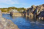 Mountainous Banks Of Potomac River On Sunny Day In Autumn, Virginia, Usa. A Scenic River Bend In Gre poster