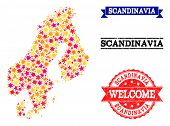 Mosaic Map Of Scandinavia Designed With Colored Flat Stars, And Grunge Textured Stamps, Isolated On  poster