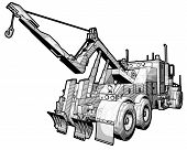 picture of tow-truck  - A sketchy schematic illustration of a tow truck - JPG