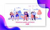 People Group Travel Take Photo Sight Landing Page Template. Happy Man Character In Vacation With Bac poster