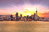 Skyline photo of the biggest city in the New Zealand, Auckland. The photo was taken during the golde poster