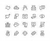 Simple Set Of Love Related Vector Line Icons. Contains Such Icons As Romantic Letter, Happy Couple,  poster