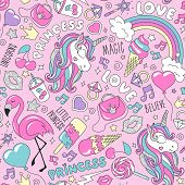 Pattern With Unicorn. Trendy Seamless Vector Pattern On A White Background. Fashion Illustration Dra poster