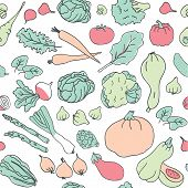 Ketogenic Food Vector Seamless Pattern. Healthy Keto Food Doodles - Fats, Proteins And Carbs On Vect poster