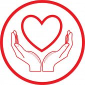 Vector heart and hands icon. Red and white. Simply change. In my portfolio there is version 4 in 1.
