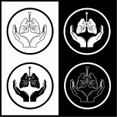 Medical icons. Protection of lungs. Black and white. Simply change.