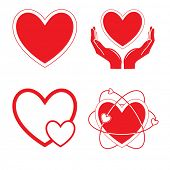Vector heart icons. Red and white. Simply change.