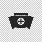 Nurse Hat With Cross Icon Isolated On Transparent Background. Medical Nurse Cap Sign. Flat Design. V poster