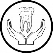Vector medical icon. Protection of tooth. Black and white. Simply change.