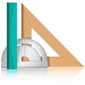 3d vector icon of protractor and rulers