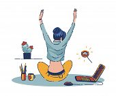 Young Woman Working At Home Handdrawn Flat Vector Illustration poster