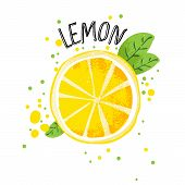 Vector Hand Draw Lemon Illustration. Half And Slice Of Lemons With Juice Splashes Isolated On White  poster