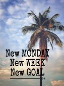 Motivational And Inspirational Quote - New Monday, New Week, New Goal. Blurred Styled Background. poster