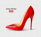 Beautiful Female Shoes, Sexy Shoes, Classic. High-heeled Shoes, Patent Leather Shoes. 3d Effect. Vec poster